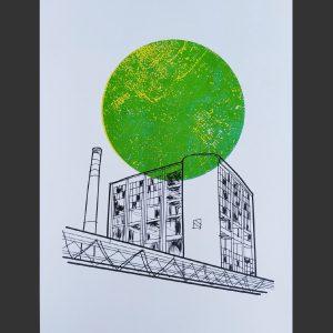 Grafika Z ciernej na zelenu risograf